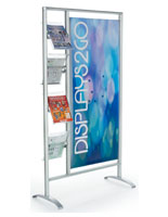 Custom Banner Stand with Literature Shelves Made of Plastic