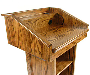 Closeup of  a Solid Wood Lectern