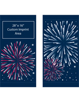 "30"" x 60"" Fireworks Flag Banners for Street Poles Banner Set with Custom White Graphic"
