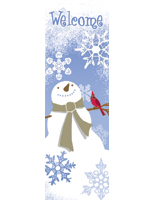 "Snowflake Theme Vinyl Street Sign Flag Banner with ""Welcome"" Message"