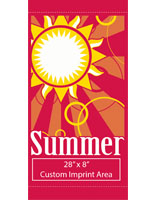 "30"" x 60"" Summer Outdoor Light Pole Banner with Custom White Graphic"