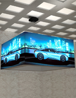 LED 8' overhead hanging cube light box sign