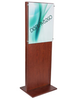 Modern Freestanding Mahogany Poster Stand