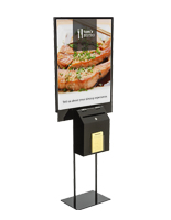 Double-Sided Black Sign Stand with Lead Box