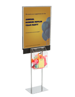 Silver Sign Stand with Sweepstakes Box and Square Base