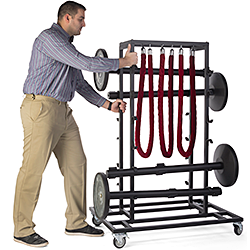 Steel Rolling Rack with Crowd Control Stanchions