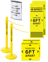 Stanchion and signage bundles with floor decals