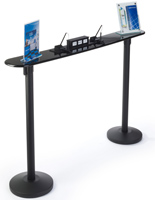 Stanchion writing tables with black retractable belts