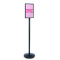 Black Stanchion with Sign Holder