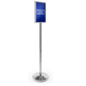 Chrome Stanchion with Sign Holder