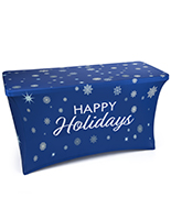 4' stretch tablecloth with holiday message with snowflake theme