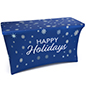 4' stretch tablecloth with holiday message with 4 side coverage