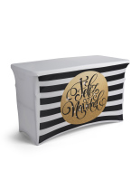 4' black and white striped feliz navidad spandex table cover