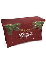 "4' ""Merry Christmas"" stretch table cover with foot pockets"