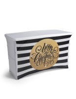 4' gold themed preprinted holiday table cover