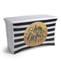 4' striped preprinted holiday table cover