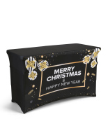 4' long black preprinted seasonal stretch event table cover