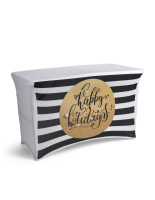 4' black and white preprinted christmas table cover