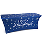 6' spandex tablecloth with holiday message on blue background