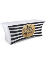 gold themed feliz navidad stretch 6' preprinted table cover