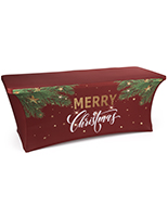 "6' ""Merry Christmas"" spandex table cover with foot pockets"