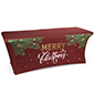 "6' ""Merry Christmas"" spandex table cover with pre-printed message on red fabric"