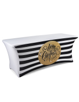 gold 6' table cover with preprinted holiday message