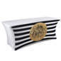 black & gold 6' table cover with preprinted holiday message
