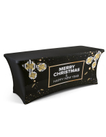 black stretch preprinted seasonal cover for 6-ft table with gold accents