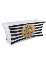 black and gold 6' preprinted table cover for christmas