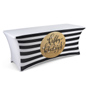 black & white striped 6' preprinted table cover for christmas