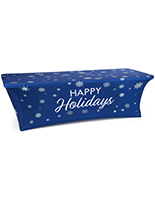 8' fitted tablecloth with holiday message with stretch fabric