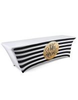 8' long striped holiday stretch table cover feliz navidad