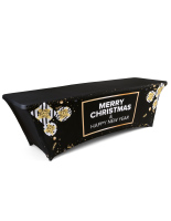 black and gold 8' preprinted spandex stretch seasonal table cover