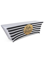 8' striped happy holiday stretch polyester table cover
