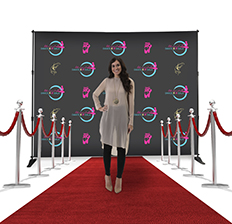 Step and repeat banner at an event
