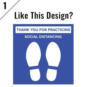 Blue social distancing floor sticker