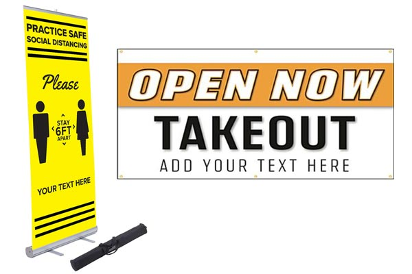 Stock printed social distancing vinyl banners