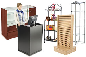Retail store display fixtures and shelving