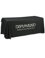Metallic Lettering 6' Black Table Cover w/ Custom Imprinting