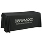 Metallic Lettering 6' Black Table Cover, Silver