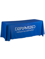 Metallic Lettering 6' Blue Table Cover with Vinyl Imprinting