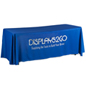 Metallic Lettering 6' Blue Table Cover w/ Open Back