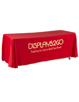 Metallic Lettering 6' Red Table Cover,  3-Sided