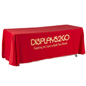 Metallic Lettering 6' Red Table Cover - Open Back
