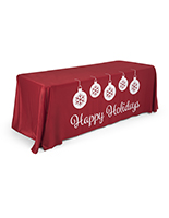 "6' ""Happy Holidays"" imprinted table cover with pre-printed designs"