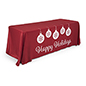 "6' ""Happy Holidays"" imprinted table cover with 3 full-cover sides"