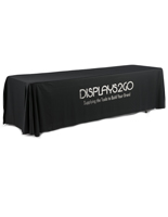 Metallic Lettering 8' Black Table Cover with Customization