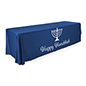 "8' ""Happy Hanukkah"" cloth table cover with 3 full length sides"