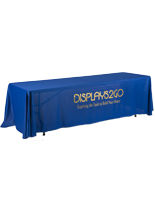 Metallic Lettering 8' Blue Table Cover - Polyester